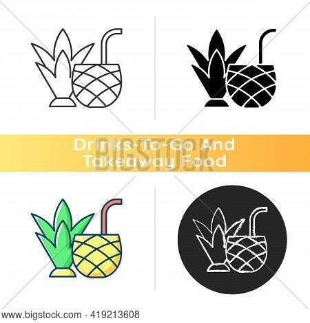 Pina Colada Icon. Mixed Alcoholic Drink, Cocktail. Tropical Taste. No Sugar-added Strained Pineapple