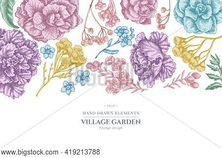 Floral Design With Pastel Wax Flower, Forget Me Not Flower, Tansy, Ardisia, Brassica, Decorative Cab