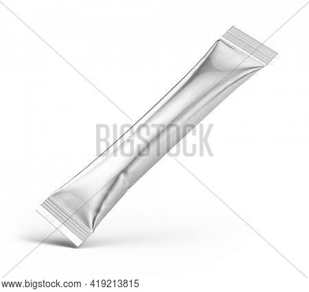 Metallic Stick Sachet isolated on white. Metallic Stick Sachet Mockup. 3d rendering