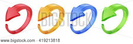 Rotation circle 3d arrows icon. Circled web recycling progress concept - 3d rendering