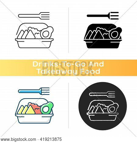 Family-style Meals Takeout Icon. Dinner For Parents And Kids. Family-sized Portions. Delivery From L
