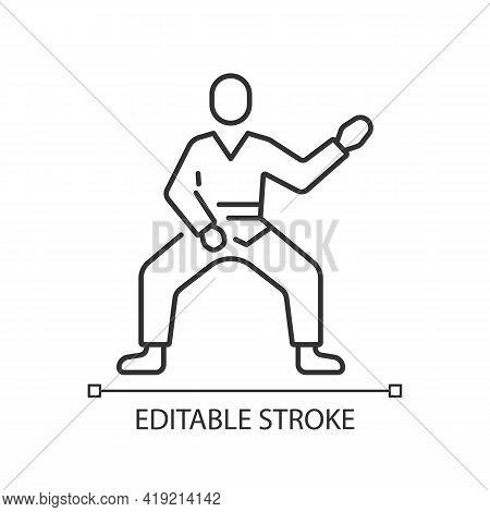 Taekwondo Linear Icon. Martial Arts. Karate Fighter. Japanese Jiu Jitsu. Korean Culture. Thin Line C