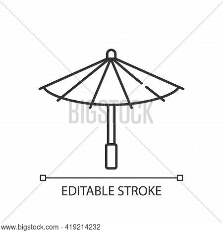 Korean Umbrella Linear Icon. Bamboo And Paper Parasol. Ethnic Japanese Accessory. Korean Culture. Th