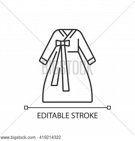 Hanbok Linear Icon. National Asian Clothing. Oriental Dress For Women. Eastern Outfit For Girls. Thi