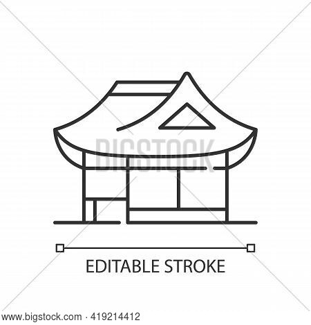 Hanok Linear Icon. Traditional Architecture. Ethnic Asian Building. Oriental Home. Eastern House. Th