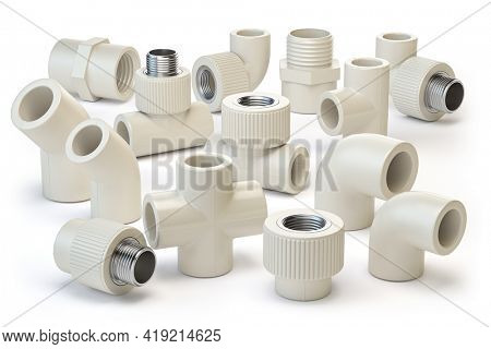 Set of PVC pipe fittings isolated on white. 2d illustration