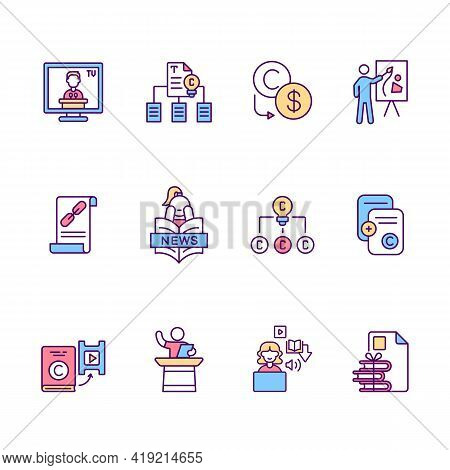 Copyright Rgb Color Icons Set. News Broadcasting. Copyrighted Materials Duplication. Selling Patents