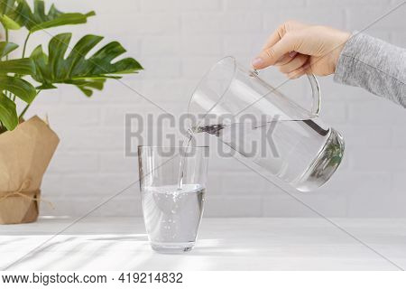 Woman Hand With Transparent Jug Fills A Glass Pure Drinking Water, Creating Air Bubbles, Green Plant