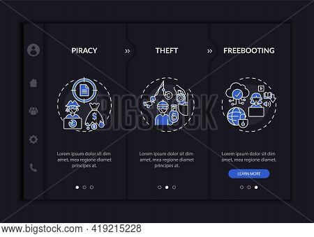 Copyright Violation Kinds Onboarding Vector Template. Responsive Mobile Website With Icons. Web Page