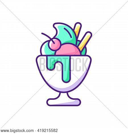 Frozen Yogurt Rgb Color Icon. Sweetened Frozen Dessert. Parfait. Decoration With Various Toppings. M