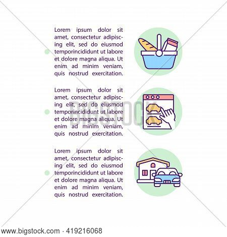 Types Of Consumer Behavior Concept Line Icons With Text. Ppt Page Vector Template With Copy Space. B
