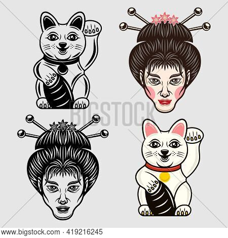 Geisha Head And Maneki Neko Lucky Cat Japanese Cartoon Characters Set Of Vector Objects In Two Style