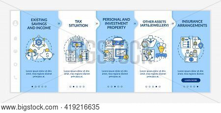 Extensive Wealth Plan Parts Onboarding Vector Template. Responsive Mobile Website With Icons. Web Pa