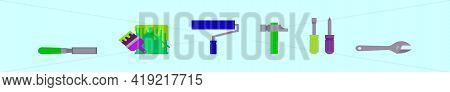 Tool Icon Set With Lots Of Construction Or Diy Tools Including Level, Pneumatic And Many Others. Mod