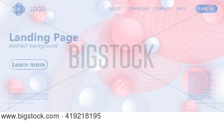 Landing Page. Fluid Shapes. Pink And White Colors.