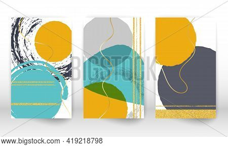 Watercolor Effect Design Cover. Set Of Abstract Hand Drawn Geometric Shapes. Doodle Lines, Golden Pa