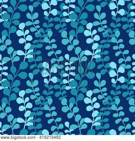 Eucalyptus Silhouettes Seamless Pattern. Botanical Print Design With Hand Drawn Eucalyptus Leaves On