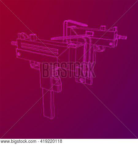 Submachine Gun Modern Firearms Pistol. Wireframe Low Poly Mesh