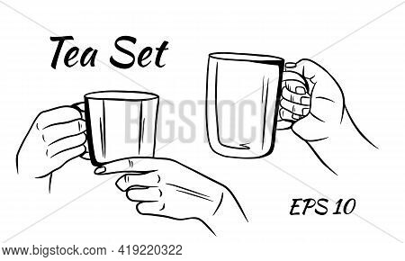 Cup Of Tea Or Coffee In Female Hands In Sketch Style