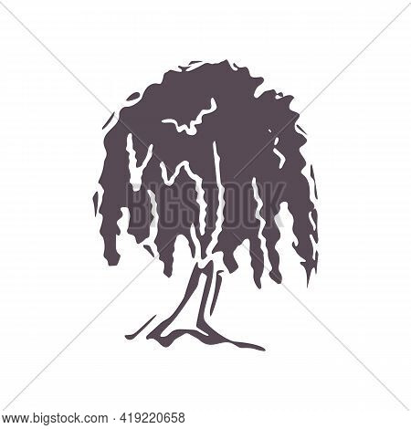 Hand Carved Bold Block Print Tree Icon Clip Art. Folk Heritage Illustration Design Element. Modern B