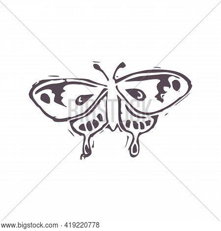 Hand Carved Bold Block Print Butterfly Icon Clip Art. Folk Illustration Design Element. Modern Boho