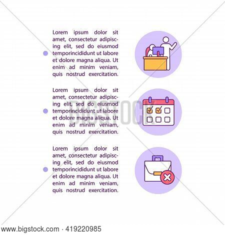 Notifying Your Employer Concept Line Icons With Text. Resignation Job Ppt Page Vector Template With