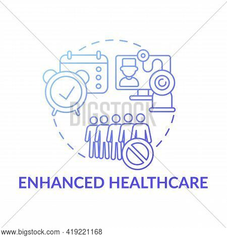 Enhanced Healthcare Dark Blue Concept Icon. Online Medical Services. E Health, Telemedicine. Digital