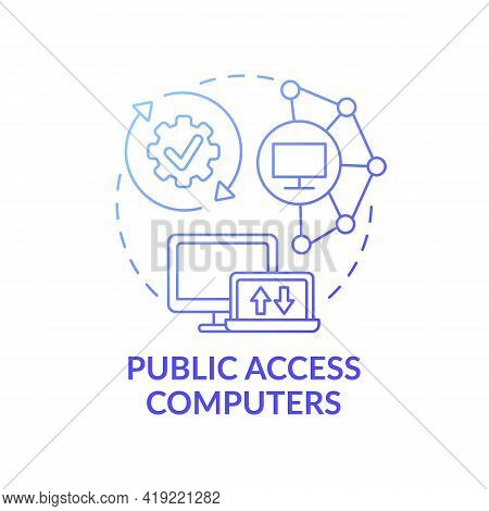 Public Access Computers Dark Blue Concept Icon. Accessible Technology. Open Network. Digital Inclusi