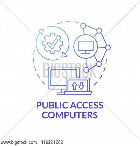 Public Access Computers Dark Blue Concept Icon. Accessible Technology. Open Network. Digital Inclusi