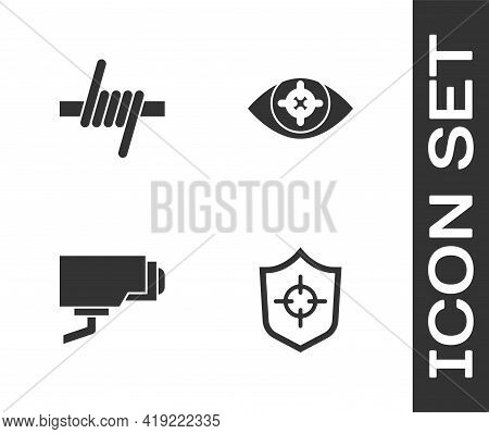 Set Shield, Barbed Wire, Security Camera And Eye Scan Icon. Vector