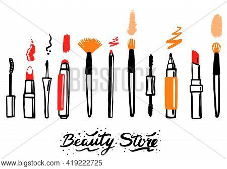 Makeup Cosmetics Tools Background And Cosmetics For Beauty. Isolated Cosmetics And Face Cosmetics Pa