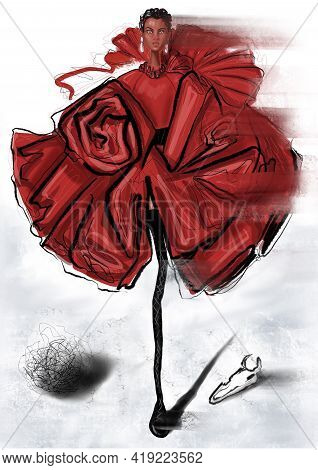 Hand-drawn Fashion Illustration Of   Imaginary Model In Red Dress, \ndepicted As Fantasy\nform Of De