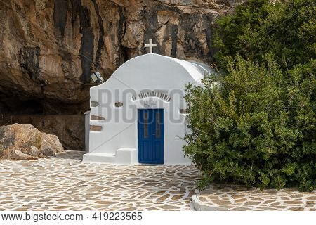 Arkoudiotissa Cave, Antiparos Island, Greece - 28 September 2020: A Small Chapel By The Cave. Orthod
