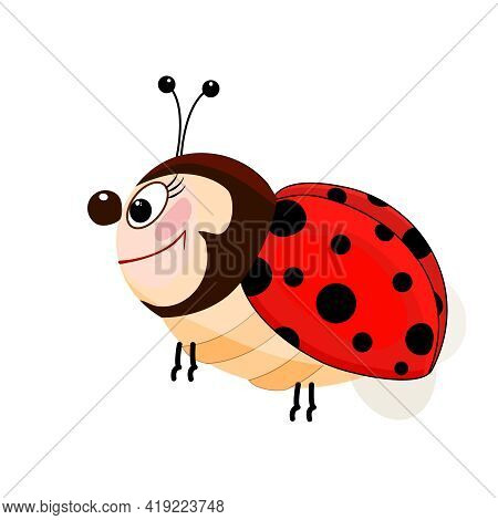 Little Ladybug Isolated On White Background. Happy Cartoon Ladybird With Dots, Wings And Antennas Fl