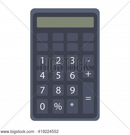 Black Calculator With Numbers And Screen For Calculation. Clipart On A White Isolated Background. Ve