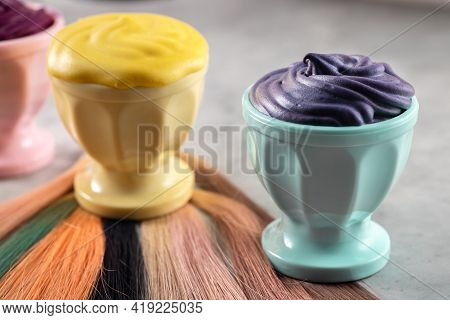 Hair Paints Samples And Hair Samples On Grey Background, Hairdresser Tools, Horizontal