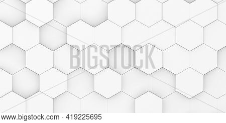 Modern Minimal White Random Shifted Honeycomb Hexagon Geometrical Pattern Background Flat Lay Top Vi