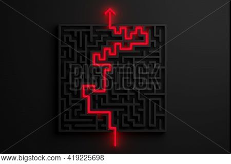 Red Glowing Path Thru Black Maze Or Labyrinth Over Black Background, Success, Strategy Or Solution C