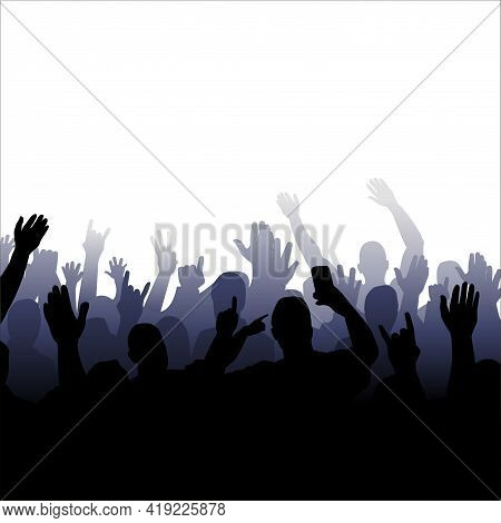 Vector Illustration Of A Silhouette Of A Crowd Of People With Raised Hands. Isolated Image Of People