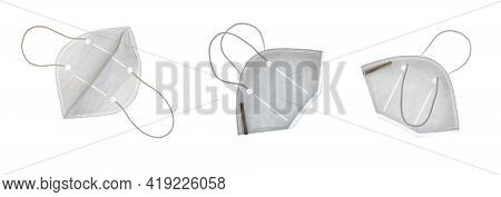 Three Different Views Of White Face Masks Isolated On White For Your Convenient Extraction.