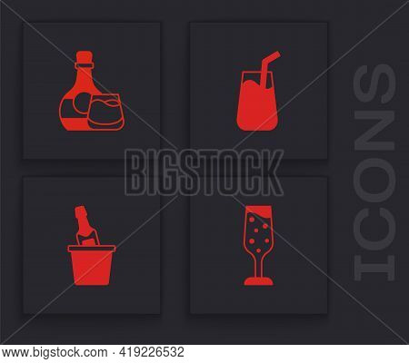 Set Glass Of Champagne, Whiskey Bottle And Glass, Cocktail And Champagne In Ice Bucket Icon. Vector