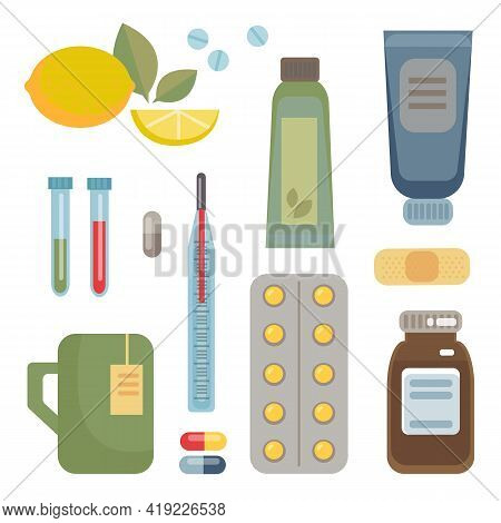 A Set Of Medicines, Tablets, Potions, Vitamins, Balls, And Ways To Fight Colds And Diseases. Vector