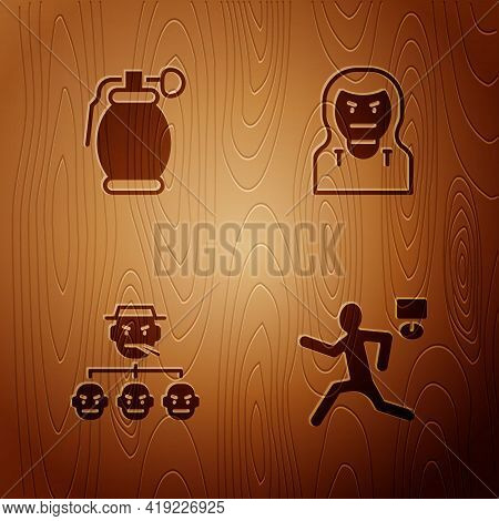 Set Murder, Hand Grenade, Mafia And Thief Mask On Wooden Background. Vector