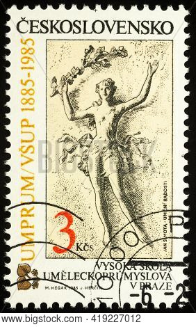 Moscow, Russia - May 02, 2021: Stamp Printed In Czechoslovakia Shows Art And Pleasure (jan Simota),