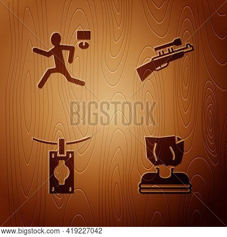Set Kidnaping, Murder, Money Laundering And Sniper Rifle With Scope On Wooden Background. Vector