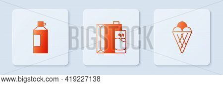 Set Paper Package For Milk, Whipped Cream In Bottle And Ice Waffle Cone. White Square Button. Vector