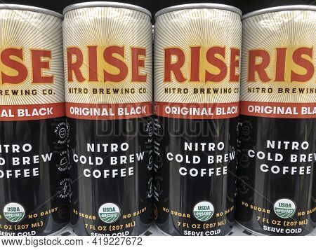 Indianapolis - Circa May 2021: Rise Brewing Nitro Cold Brew Coffee. Rise Brewing Specializes In Nitr