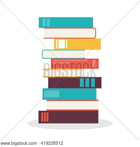 Books, Stack Of Snig Isolated On White Background. Vector, Cartoon Illustration. Vector.