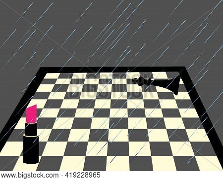 Illustration Of A Chessboard With Two Players, One A Lipstick And The Other One , The King, Raining