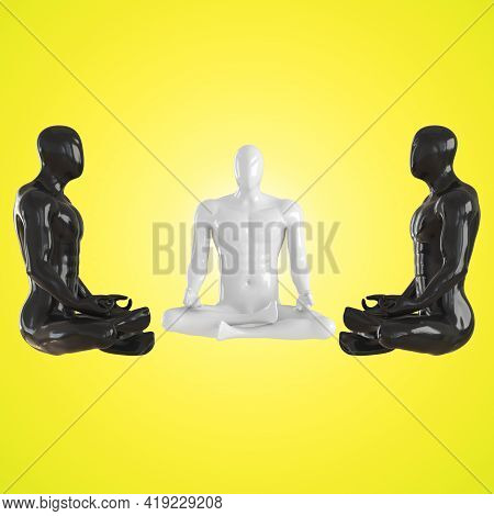 Two Black Male Mannequins And One White Mannequins Sit In A Lotus Position On A Yellow Background. 3
